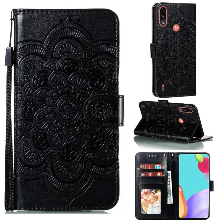 Intricate Embossing Datura Solar Leather Wallet Case for Motorola Moto E7 Power - Black