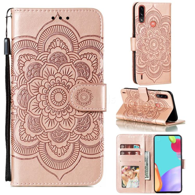 Intricate Embossing Datura Solar Leather Wallet Case for Motorola Moto E7 Power - Rose Gold