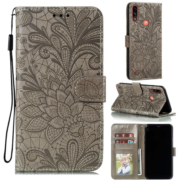 Intricate Embossing Lace Jasmine Flower Leather Wallet Case for Motorola Moto E7 Power - Gray