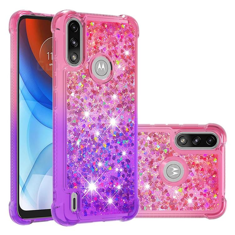 Rainbow Gradient Liquid Glitter Quicksand Sequins Phone Case for Motorola Moto E7 Power - Pink Purple