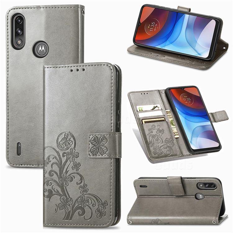 Embossing Imprint Four-Leaf Clover Leather Wallet Case for Motorola Moto E7 Power - Grey
