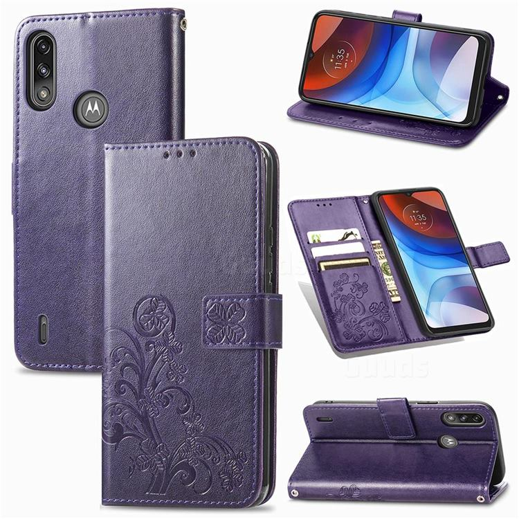 Embossing Imprint Four-Leaf Clover Leather Wallet Case for Motorola Moto E7 Power - Purple