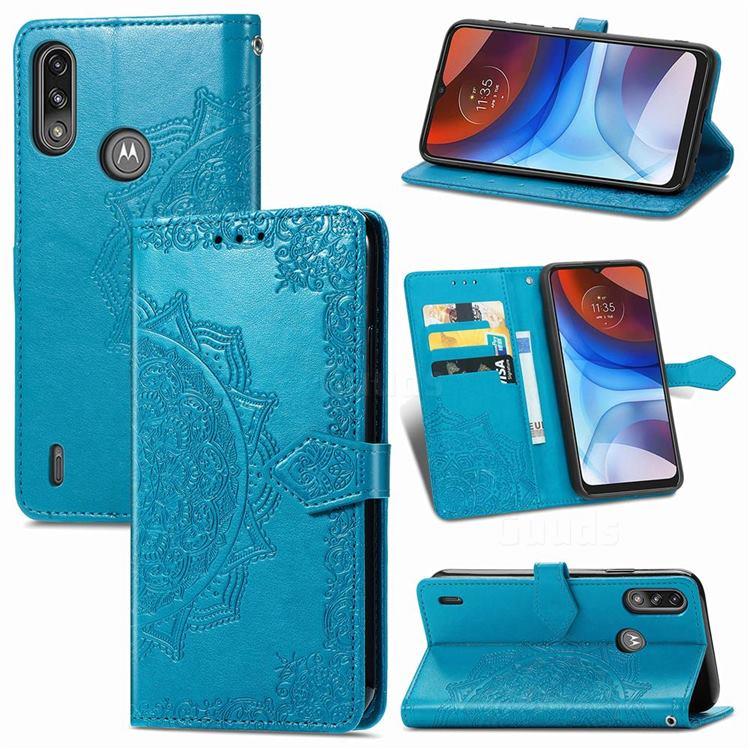 Embossing Imprint Mandala Flower Leather Wallet Case for Motorola Moto E7 Power - Blue