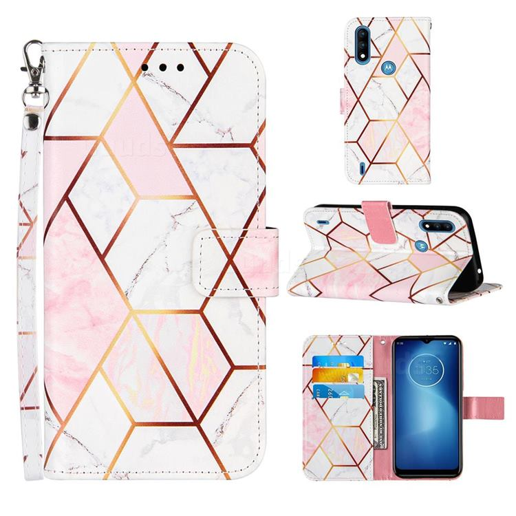 Pink White Stitching Color Marble Leather Wallet Case for Motorola Moto E7 Power