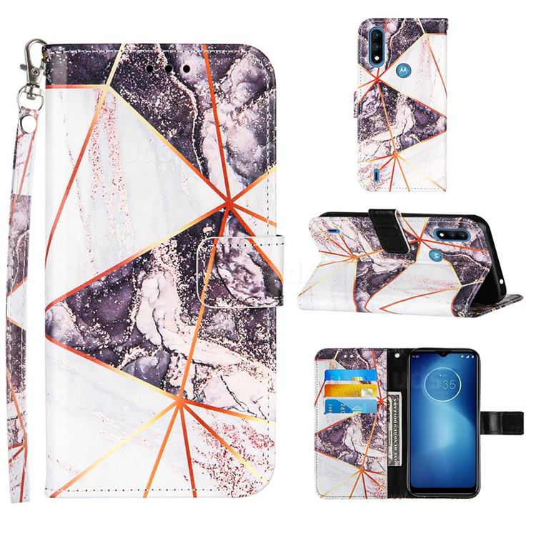 Black and White Stitching Color Marble Leather Wallet Case for Motorola Moto E7 Power