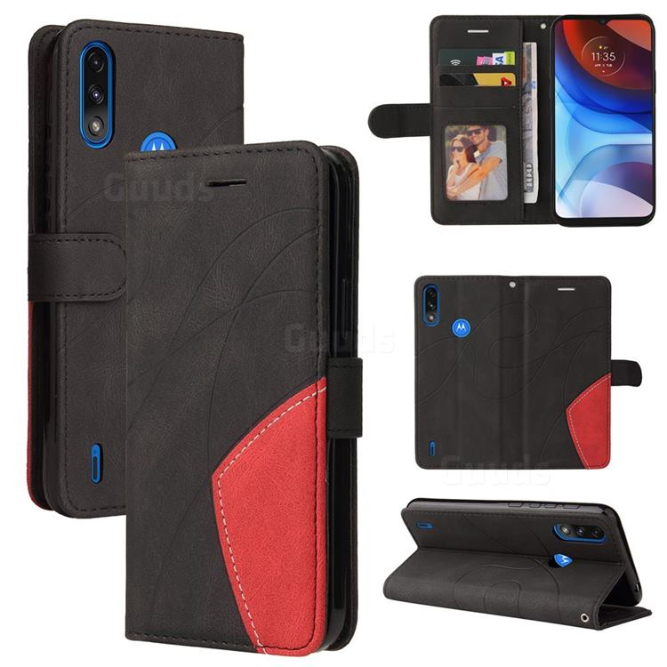 Luxury Two-color Stitching Leather Wallet Case Cover for Motorola Moto E7 Power - Black
