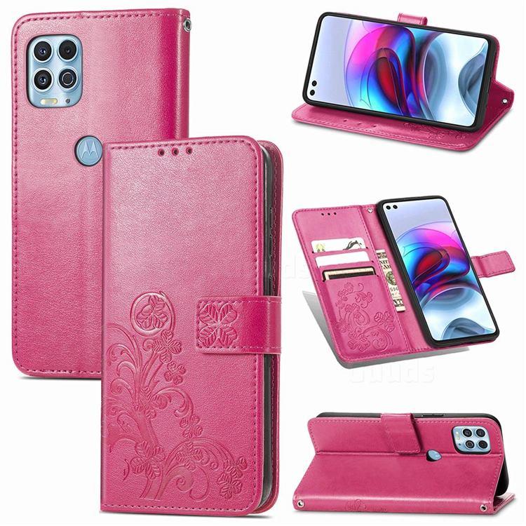 Embossing Imprint Four-Leaf Clover Leather Wallet Case for Motorola Edge S - Rose Red