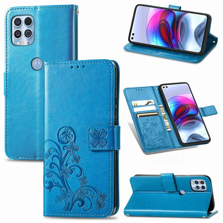 Embossing Imprint Four-Leaf Clover Leather Wallet Case for Motorola Edge S - Blue
