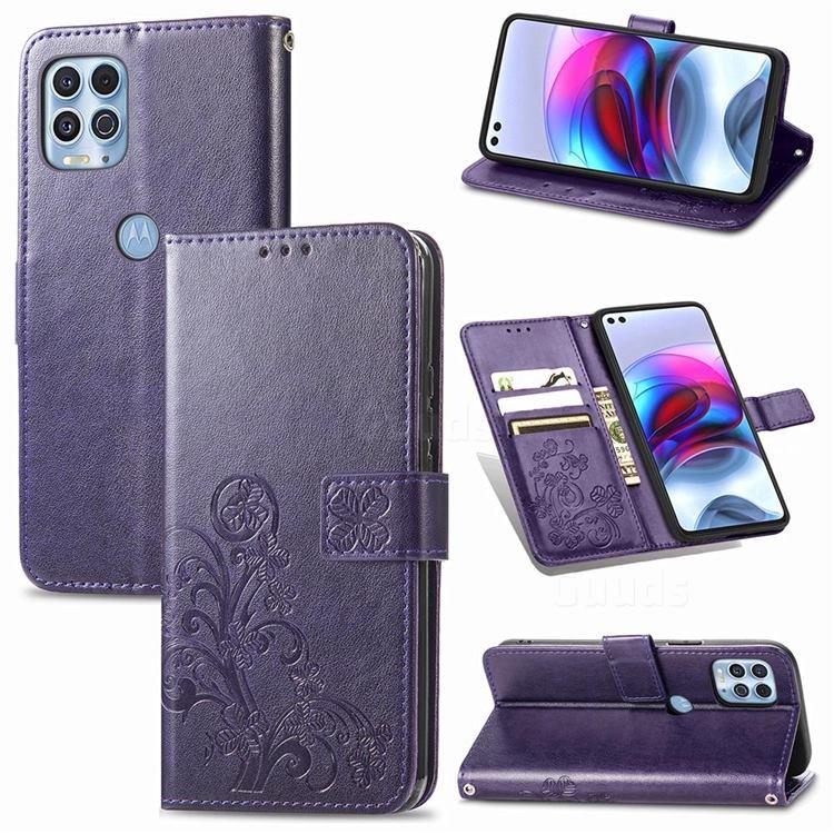 Embossing Imprint Four-Leaf Clover Leather Wallet Case for Motorola Edge S - Purple
