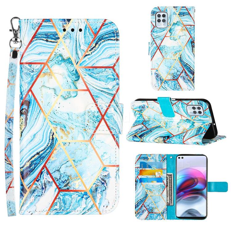 Lake Blue Stitching Color Marble Leather Wallet Case for Motorola Edge S