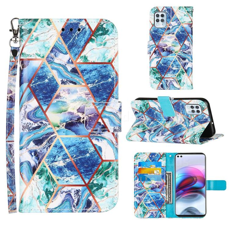 Green and Blue Stitching Color Marble Leather Wallet Case for Motorola Edge S