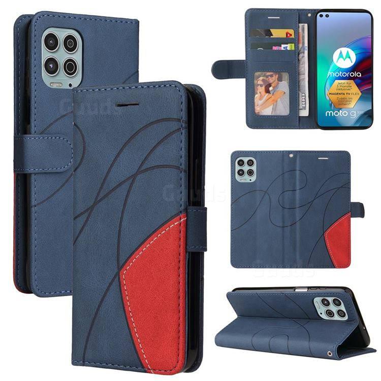 Luxury Two-color Stitching Leather Wallet Case Cover for Motorola Edge S - Blue