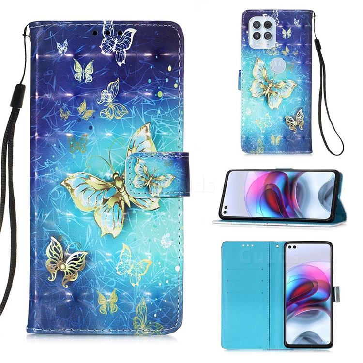 Gold Butterfly 3D Painted Leather Wallet Case for Motorola Edge S