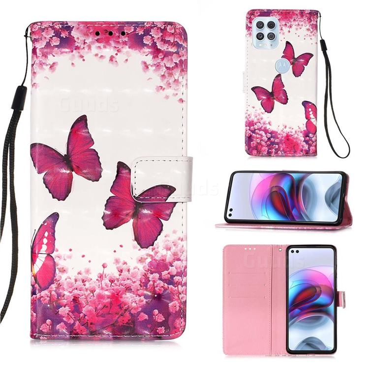 Rose Butterfly 3D Painted Leather Wallet Case for Motorola Edge S