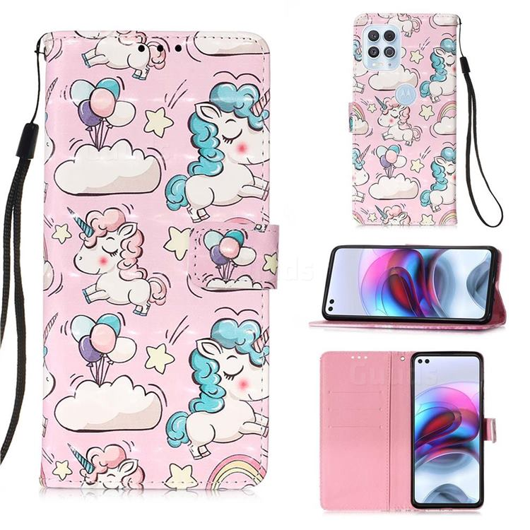 Angel Pony 3D Painted Leather Wallet Case for Motorola Edge S