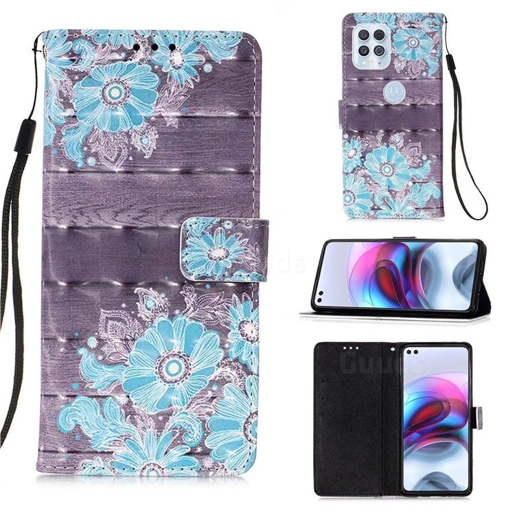 Blue Flower 3D Painted Leather Wallet Case for Motorola Edge S