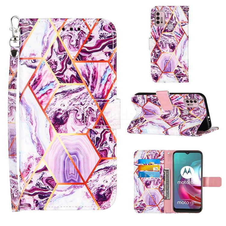 Dream Purple Stitching Color Marble Leather Wallet Case for Motorola Moto G10