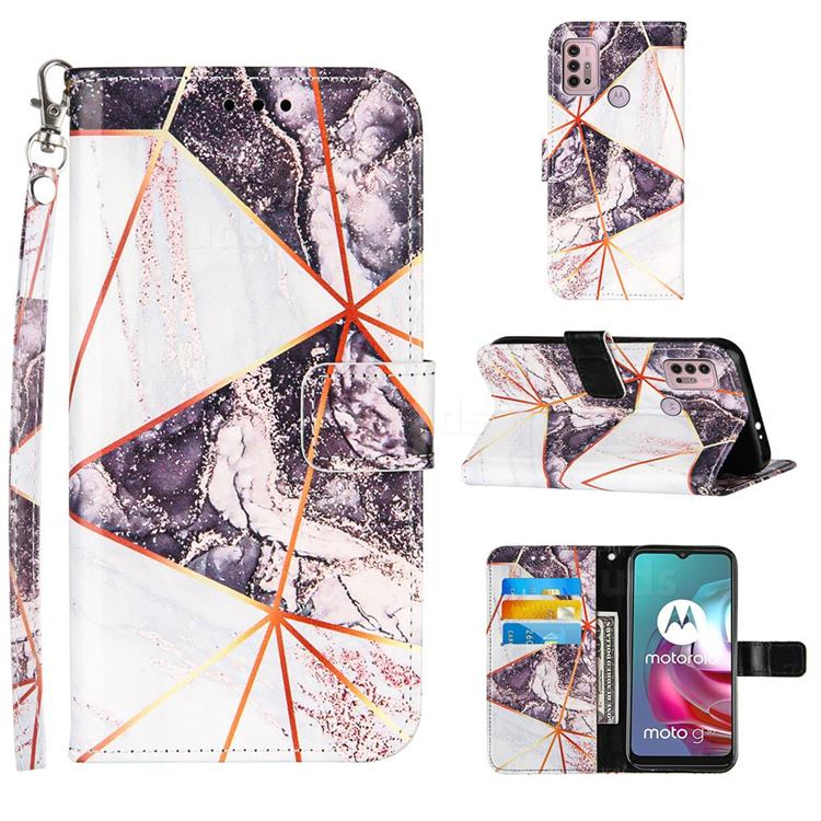 Black and White Stitching Color Marble Leather Wallet Case for Motorola Moto G10