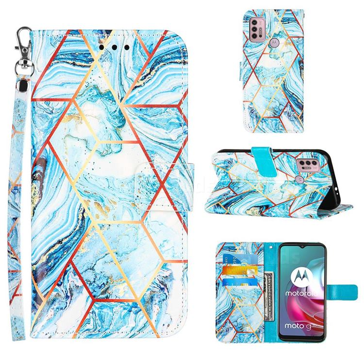 Lake Blue Stitching Color Marble Leather Wallet Case for Motorola Moto G10