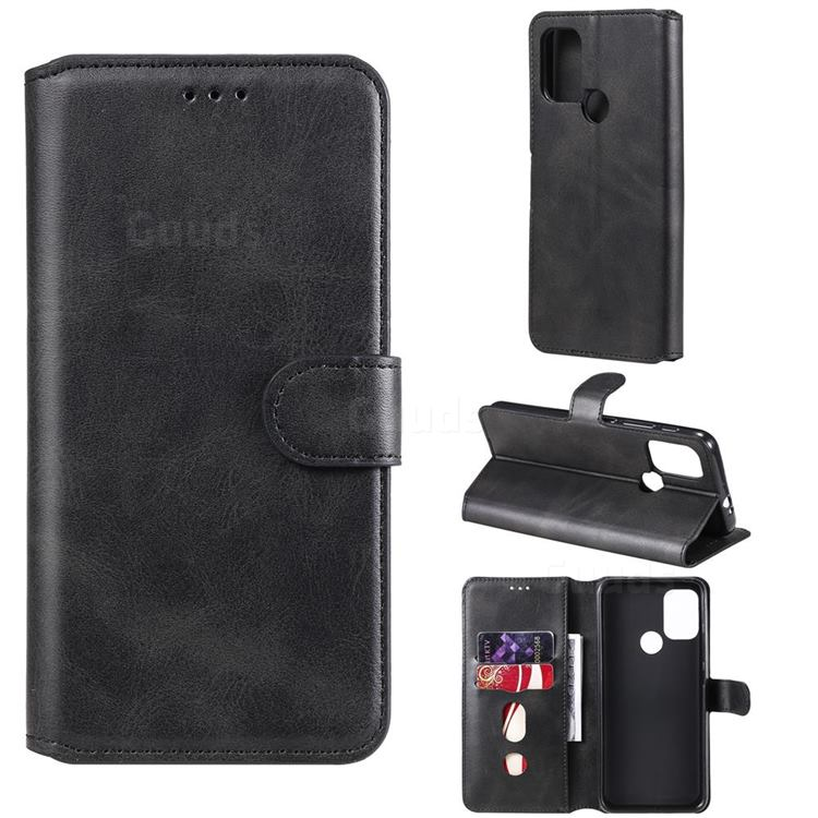 Retro Calf Matte Leather Wallet Phone Case for Motorola Moto G10 - Black