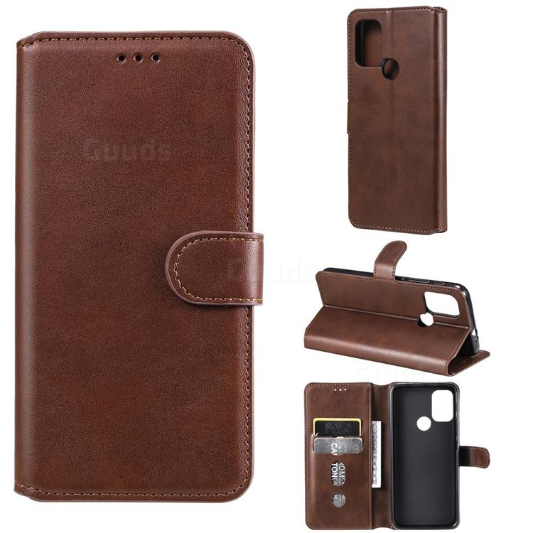 Retro Calf Matte Leather Wallet Phone Case for Motorola Moto G10 - Brown
