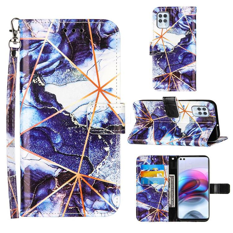 Starry Blue Stitching Color Marble Leather Wallet Case for Motorola Moto G100