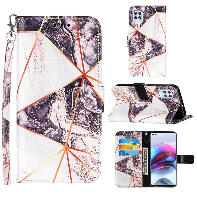 Black and White Stitching Color Marble Leather Wallet Case for Motorola Moto G100