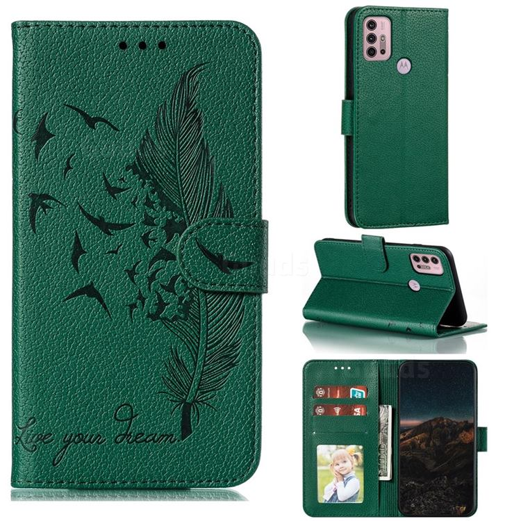 Intricate Embossing Lychee Feather Bird Leather Wallet Case for Motorola Moto G30 - Green