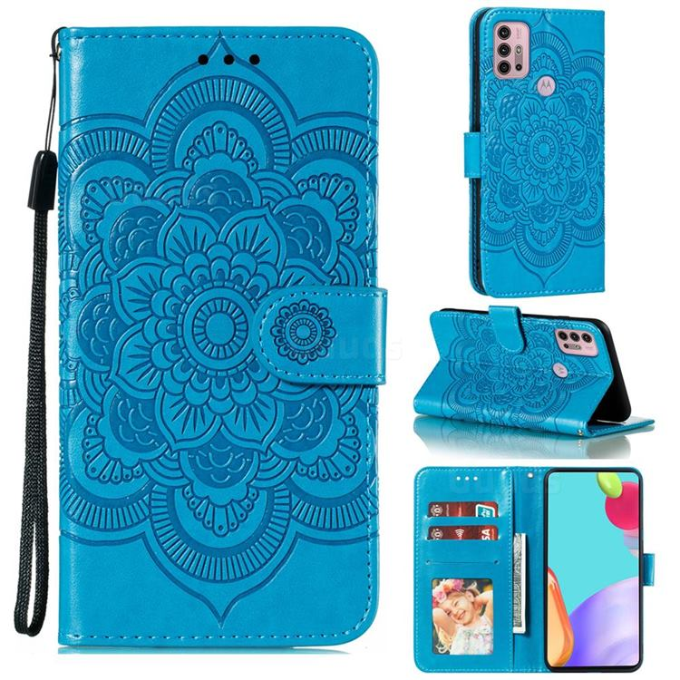 Intricate Embossing Datura Solar Leather Wallet Case for Motorola Moto G30 - Blue