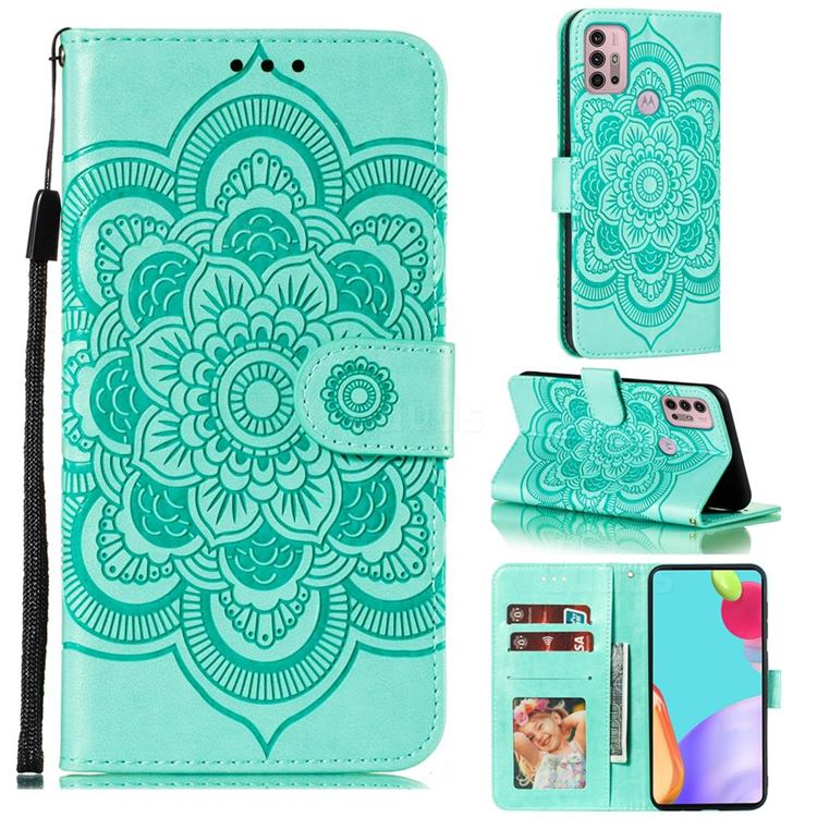 Intricate Embossing Datura Solar Leather Wallet Case for Motorola Moto G30 - Green