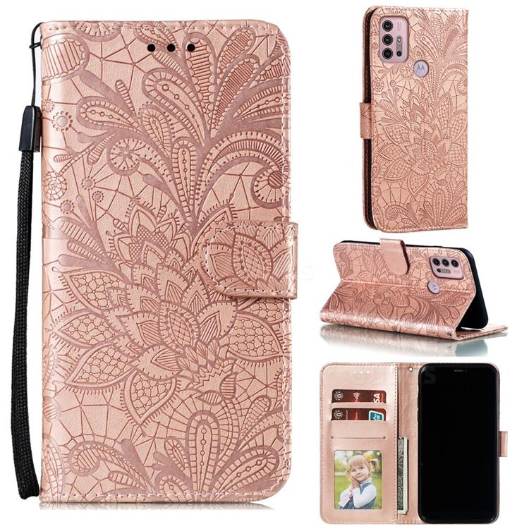 Intricate Embossing Lace Jasmine Flower Leather Wallet Case for Motorola Moto G30 - Rose Gold