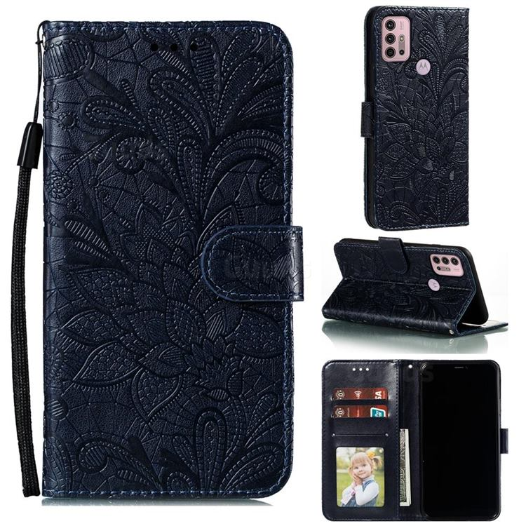 Intricate Embossing Lace Jasmine Flower Leather Wallet Case for Motorola Moto G30 - Dark Blue