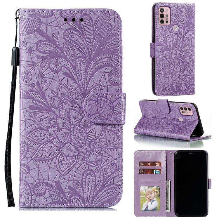 Intricate Embossing Lace Jasmine Flower Leather Wallet Case for Motorola Moto G30 - Purple