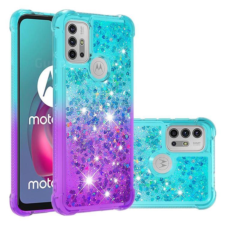 Rainbow Gradient Liquid Glitter Quicksand Sequins Phone Case for Motorola Moto G30 - Blue Purple
