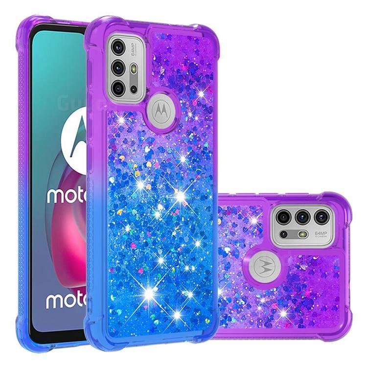 Rainbow Gradient Liquid Glitter Quicksand Sequins Phone Case for Motorola Moto G30 - Purple Blue