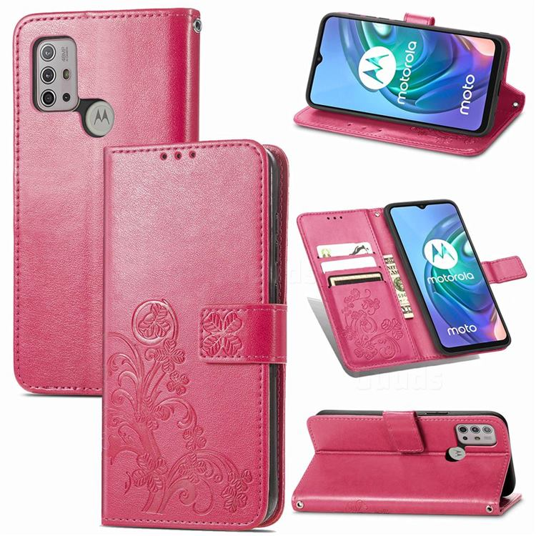 Embossing Imprint Four-Leaf Clover Leather Wallet Case for Motorola Moto G30 - Rose Red