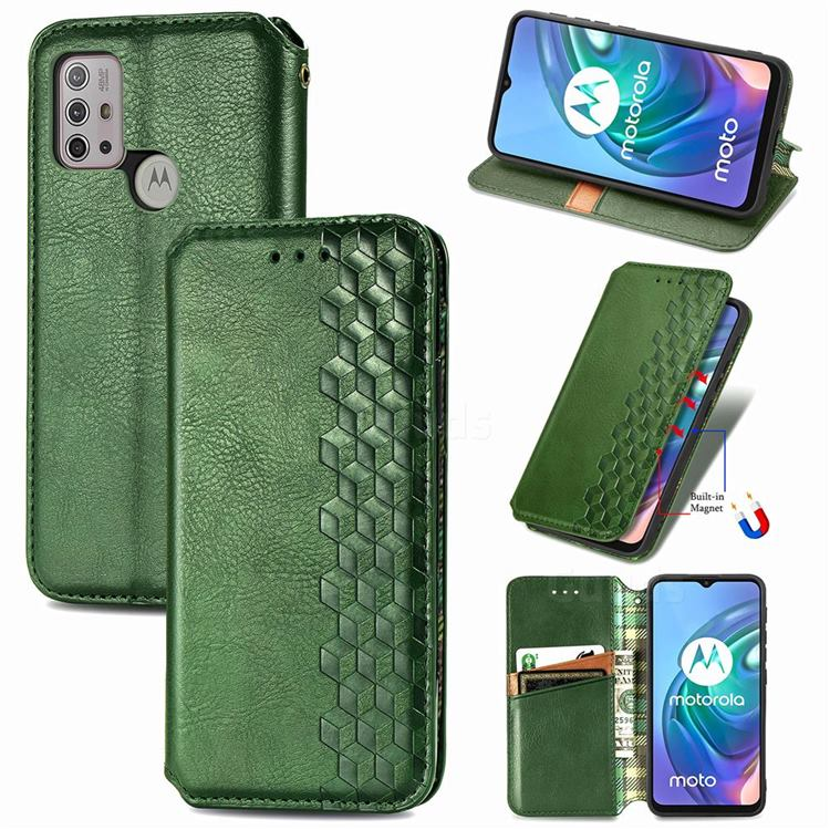 Ultra Slim Fashion Business Card Magnetic Automatic Suction Leather Flip Cover for Motorola Moto G30 - Green