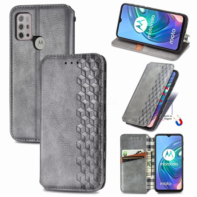 Ultra Slim Fashion Business Card Magnetic Automatic Suction Leather Flip Cover for Motorola Moto G30 - Grey