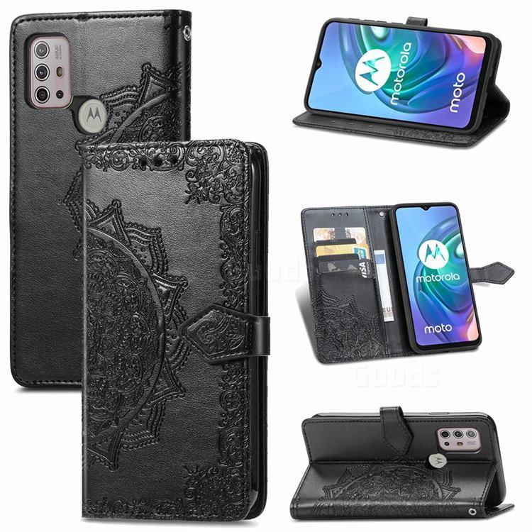 Embossing Imprint Mandala Flower Leather Wallet Case for Motorola Moto G30 - Black
