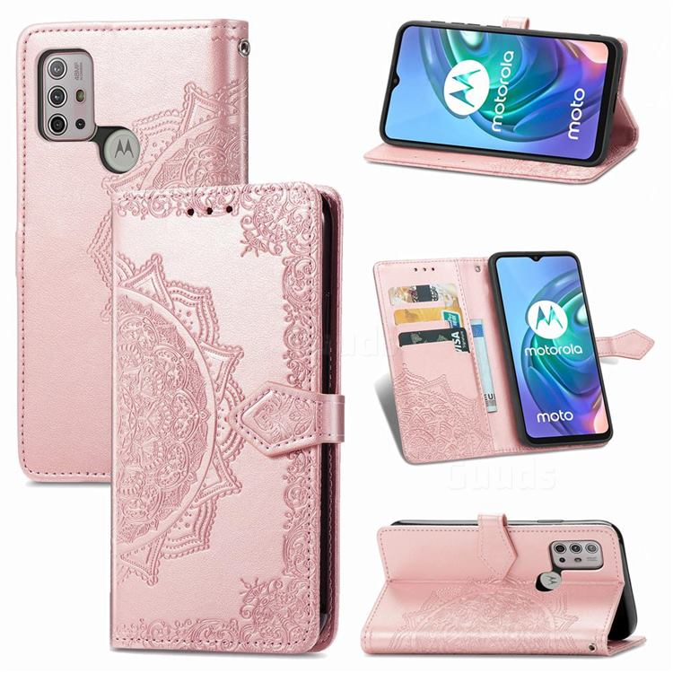 Embossing Imprint Mandala Flower Leather Wallet Case for Motorola Moto G30 - Rose Gold