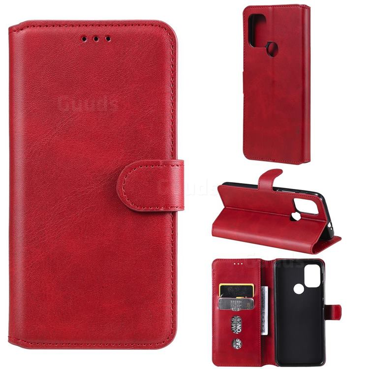 Retro Calf Matte Leather Wallet Phone Case for Motorola Moto G30 - Red