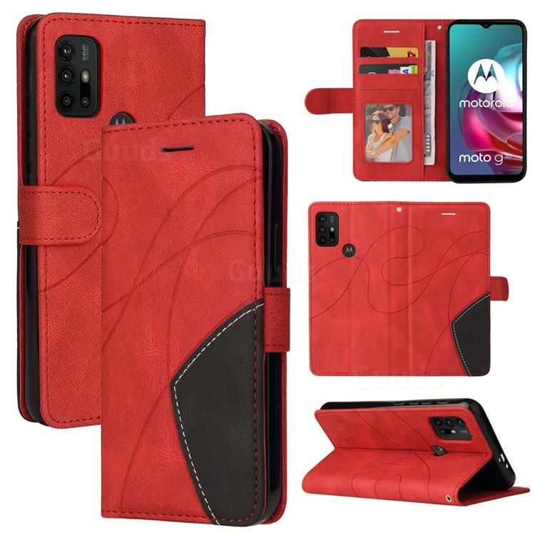 Luxury Two-color Stitching Leather Wallet Case Cover for Motorola Moto G30 - Red