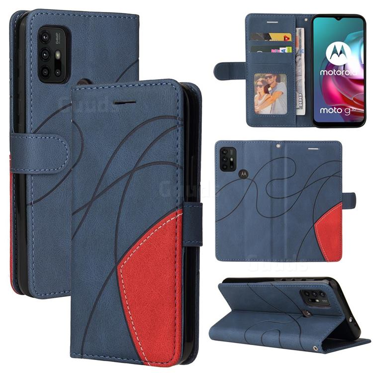 Luxury Two-color Stitching Leather Wallet Case Cover for Motorola Moto G30 - Blue