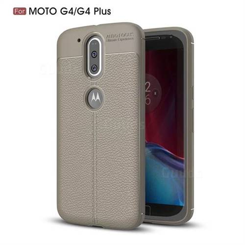 Luxury Auto Focus Litchi Texture Silicone TPU Back Cover for Motorola Moto G4 G4 Plus - Gray