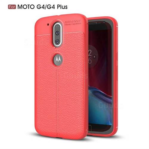 Luxury Auto Focus Litchi Texture Silicone TPU Back Cover for Motorola Moto G4 G4 Plus - Red