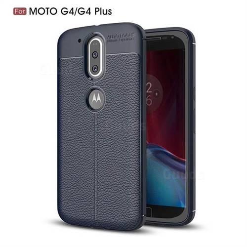 Luxury Auto Focus Litchi Texture Silicone TPU Back Cover for Motorola Moto G4 G4 Plus - Dark Blue