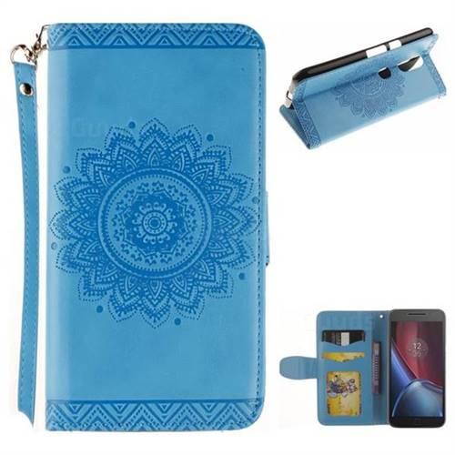 Embossed Datura Flower PU Leather Wallet Case for Motorola Moto G4 G4 Plus - Blue