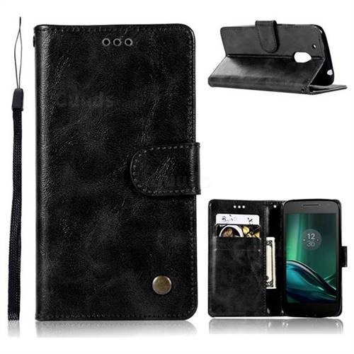 Luxury Retro Leather Wallet Case for Motorola Moto G4 G4 Plus - Black