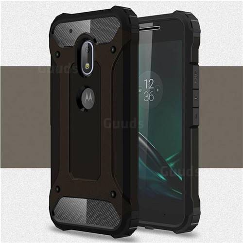King Kong Armor Premium Shockproof Dual Layer Rugged Hard Cover for Motorola Moto G4 Play - Black Gold