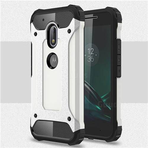 King Kong Armor Premium Shockproof Dual Layer Rugged Hard Cover for Motorola Moto G4 Play - White